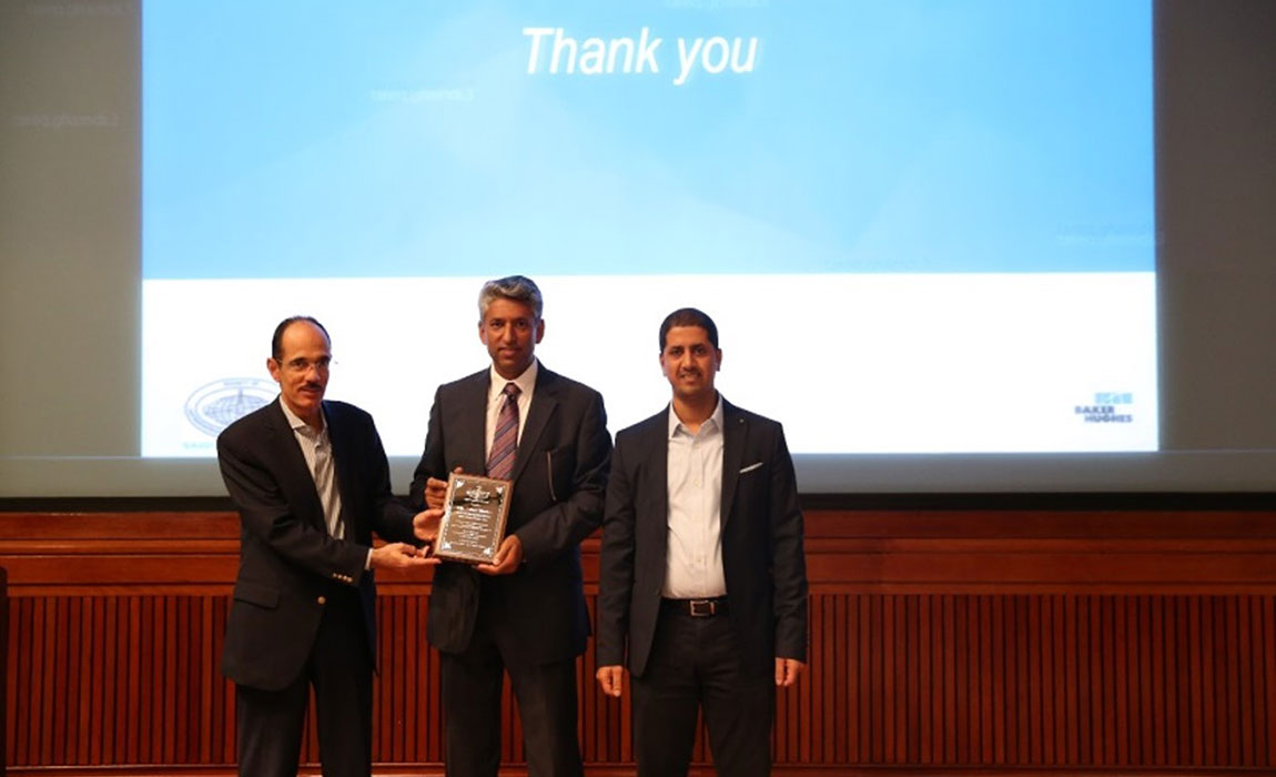 The recognition. A token of appreciation was presented by by Mr. Khalid Zainalabedin, Manager of Saudi Aramco Reservoir Description & Simulation Department & Dr. Tareq Ghamdi, the Chapter President